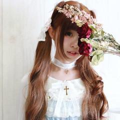 ロング ツインテール かわいい 簡単ヘアアレンジ ヘアスタイルや髪型の写真・画像