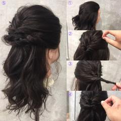 セミロング ヘアアレンジ 暗髪 簡単ヘアアレンジ ヘアスタイルや髪型の写真・画像