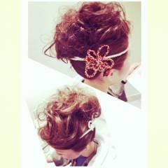アップスタイル ミディアム お祭り ヘアアレンジ ヘアスタイルや髪型の写真・画像