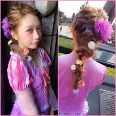 ヘアアレンジ パーティ セミロング 外国人風 ヘアスタイルや髪型の写真・画像