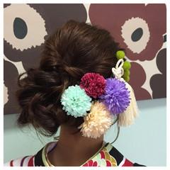 ヘアアレンジ 袴 セミロング 謝恩会 ヘアスタイルや髪型の写真・画像