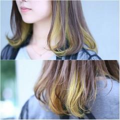 グラデーションカラー ストリート インナーカラー イエロー ヘアスタイルや髪型の写真・画像