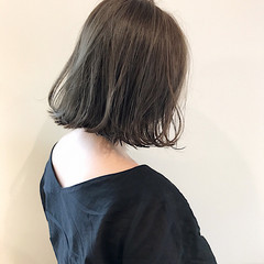 透明感 ボブ 切りっぱなし デート ヘアスタイルや髪型の写真・画像