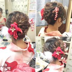 まとめ髪 セミロング フェミニン ヘアアレンジ ヘアスタイルや髪型の写真・画像