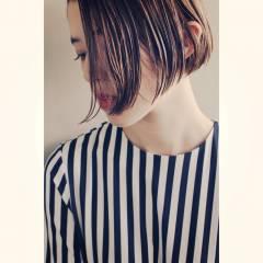 抜け感 ダブルカラー ボブ 束感 ヘアスタイルや髪型の写真・画像