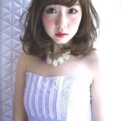 コンサバ モテ髪 フェミニン セミロング ヘアスタイルや髪型の写真・画像