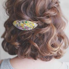 ボブ ハーフアップ ブラウン ヘアアレンジ ヘアスタイルや髪型の写真・画像