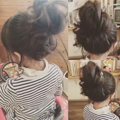 ゆるふわ ミディアム 子供 お団子 ヘアスタイルや髪型の写真・画像