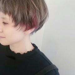 アッシュ ベージュ マッシュ ショート ヘアスタイルや髪型の写真・画像