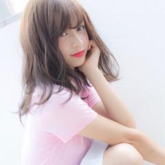涼しげ 夏 ガーリー 前髪あり ヘアスタイルや髪型の写真・画像