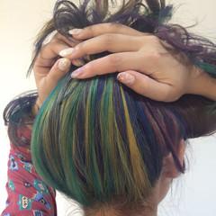 セミロング グラデーションカラー ダブルカラー ハーフアップ ヘアスタイルや髪型の写真・画像