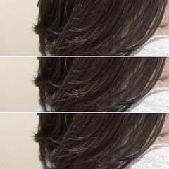 グレージュ イルミナカラー セミロング ナチュラル ヘアスタイルや髪型の写真・画像
