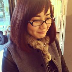 ミディアム パープル ストレート ピンク ヘアスタイルや髪型の写真・画像