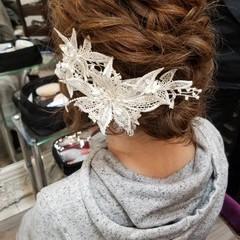エレガント 結婚式 ヘアアレンジ ミディアム ヘアスタイルや髪型の写真・画像