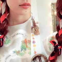 ヘアアクセ ヘアアレンジ 編み込み ゆるふわ ヘアスタイルや髪型の写真・画像
