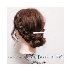お団子 ミディアム 三つ編み ショート ヘアスタイルや髪型の写真・画像