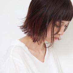 インナーカラー 外国人風 ボブ リラックス ヘアスタイルや髪型の写真・画像