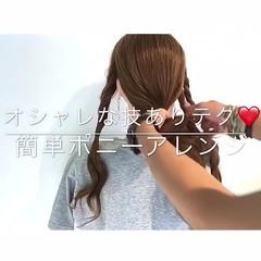 涼しげ 色気 簡単ヘアアレンジ ロング ヘアスタイルや髪型の写真・画像