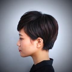 黒髪 ショート モード 暗髪 ヘアスタイルや髪型の写真・画像