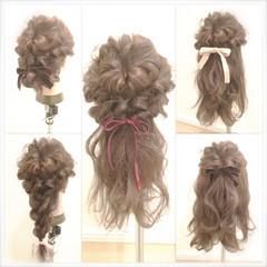 ヘアアレンジ フェミニン ゆるふわ セミロング ヘアスタイルや髪型の写真・画像