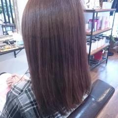 ナチュラル セミロング ピンク ベリーピンク ヘアスタイルや髪型の写真・画像