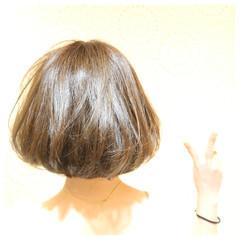 アッシュ ナチュラル ミルクティー ボブ ヘアスタイルや髪型の写真・画像