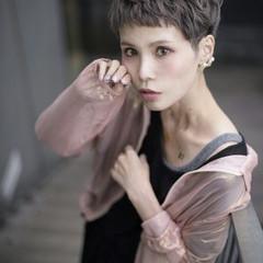 アッシュ 透明感 ラベンダーアッシュ ベリーショート ヘアスタイルや髪型の写真・画像