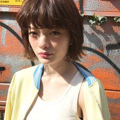 ストリート 外ハネ ボブ ウェットヘア ヘアスタイルや髪型の写真・画像