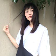 暗髪 ストリート ピュア ミディアム ヘアスタイルや髪型の写真・画像