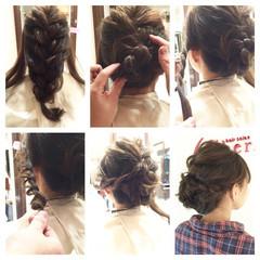 編み込み ヘアアレンジ セミロング ヘアスタイルや髪型の写真・画像
