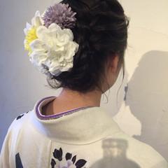 着物 ラフ 花 ヘアアレンジ ヘアスタイルや髪型の写真・画像