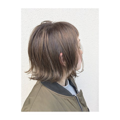 外国人風 外ハネ ハイライト ボブ ヘアスタイルや髪型の写真・画像