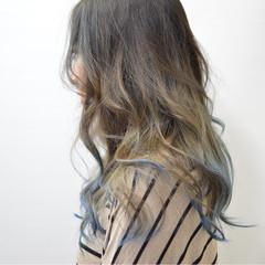 バレイヤージュ 暗髪 モード グラデーションカラー ヘアスタイルや髪型の写真・画像