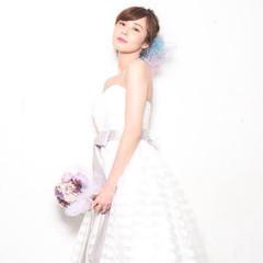 ヘアメイク 花嫁 結婚式 ミディアム ヘアスタイルや髪型の写真・画像