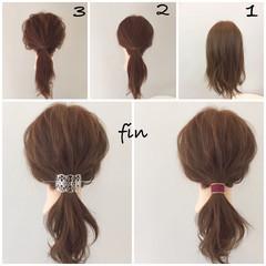 簡単ヘアアレンジ ミディアム 簡単 ショート ヘアスタイルや髪型の写真・画像