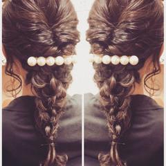 編み込み 結婚式 ロング ガーリー ヘアスタイルや髪型の写真・画像