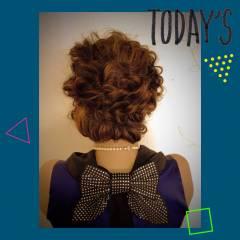 セミロング コンサバ ギブソンタック ヘアアレンジ ヘアスタイルや髪型の写真・画像