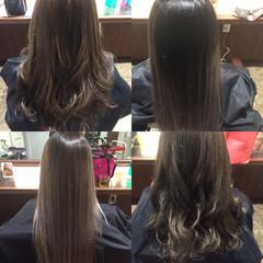 バレイヤージュ アッシュ ナチュラル グラデーションカラー ヘアスタイルや髪型の写真・画像