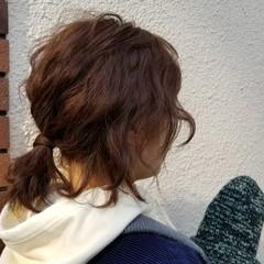 ボブ アウトドア 簡単ヘアアレンジ 波ウェーブ ヘアスタイルや髪型の写真・画像