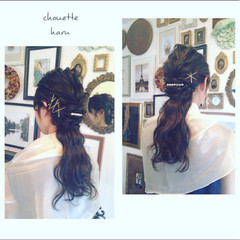 ハーフアップ 結婚式 黒髪 ヘアアレンジ ヘアスタイルや髪型の写真・画像