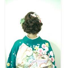 ヘアアレンジ セミロング ゆるふわ 成人式 ヘアスタイルや髪型の写真・画像