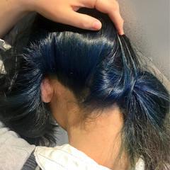 モード インナーカラー ブルー ブリーチ ヘアスタイルや髪型の写真・画像