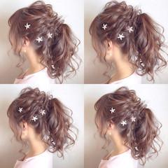フェミニン ヘアアレンジ ポニーテール セミロング ヘアスタイルや髪型の写真・画像