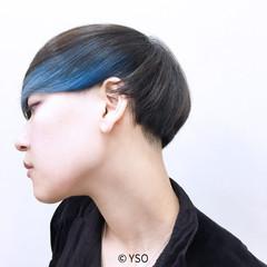 暗髪 ブルー マッシュ グレー ヘアスタイルや髪型の写真・画像