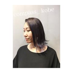 パープル グレーアッシュ オリーブアッシュ 色気 ヘアスタイルや髪型の写真・画像