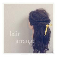簡単ヘアアレンジ ハーフアップ 結婚式 大人かわいい ヘアスタイルや髪型の写真・画像