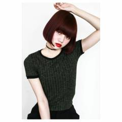 モード ワンレングス レッド 外国人風 ヘアスタイルや髪型の写真・画像
