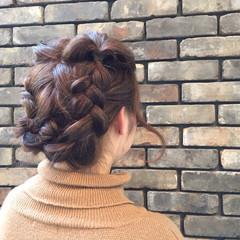 ヘアアレンジ 編み込み セミロング くるりんぱ ヘアスタイルや髪型の写真・画像