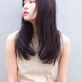 バイオレットアッシュ ナチュラル ロング ワンレンヘアスタイルや髪型の写真・画像