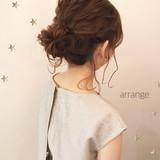 結婚式 ヘアアレンジ パーティ ミディアムヘアスタイルや髪型の写真・画像